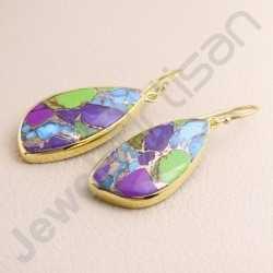 925 Solid Silver Earring Gold Vermeil Earring Fancy Shape Turquoise Earring Dangle Drop Earrings Handcrafted 925 Silver Earring