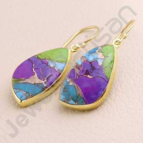 Gold Vermeil Earring Fancy Turquoise Earring 925 Solid Silver Earring Handcraft Dangle Drop Earring Gold Plated Earring