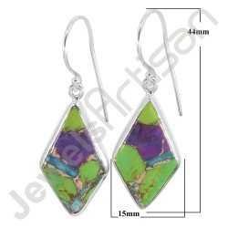 925 Sterling Silver Earring Natural Turquoise Gemstone Earring Fancy Rhombus Design Earring Dangle Drop Earring