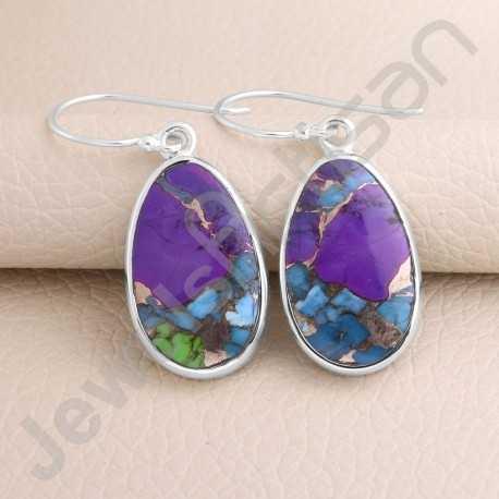 Handcrafted Earring 925 Sterling Silver Earring Fancy Turquoise Earring Dangle Drop Earrings Natural Gemstone Earring