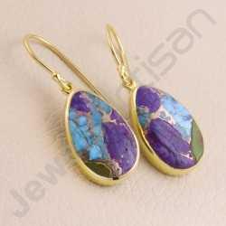 Gold Vermeil Earring 925 Solid Silver Earring Fancy Turquoise Earring Dangle Drop Fashionable Earrings