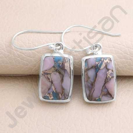 925 Sterling Silver Earring Dangle Drop Earrings Natural Turquoise Earring 10x15mm Cushion Gemstone Earring