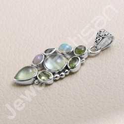 4x6 Ethiopian Pendant 4x4 Idocrase Pendant Multi Gemstone Pendant 925 Sterling Silver Pendant Handcrafted Silver Pendant