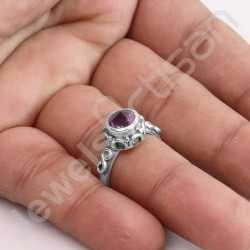 925 Sterling Silver Ring Natural Amethyst Ring 7x7mm Amethyst Solitaire Silver Ring Handcrafted Silver Ring