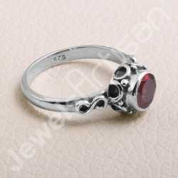 Garnet Ring 925 Sterling Silver Ring Handcrafted Silver Ring Garnet Round 7x7mm Solitaire Gemstone Ring