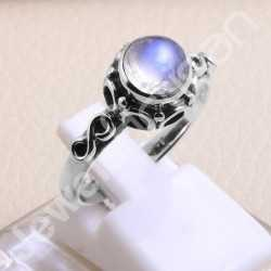 925 Sterling Silver Ring Rainbow Moonstone Ring Handcrafted Silver Ring 7x7mm Round Rainbow Moonstone Solitaire Silver Ring