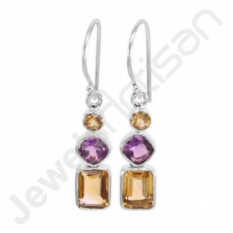 Citrine Earring Amethyst Earring 925 Sterling Silver Earring Octagon 7x9mm Citrine Fashionable Multi-Gemstone Handmade Earring