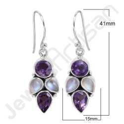 Amethyst Earring Rainbow Moonstone Earring 925 Sterling Silver Earring 7x7mm Round Amethyst Handcrafted Dangle Drop Earring