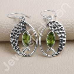 Peridot Earring 925 Sterling Silver Earring Handmade Earring 5x10mm Marquis Cut Peridot Gemstone Dangle Drop Ear Wired Earring