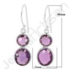 Amethyst Earring 925 Sterling Silver Earring Handcrafted Earring Oval Purple Amethyst 10x12mm Gemstone Bezel Set Earring