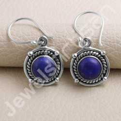 Lapis Lazuli Earring 925 Sterling Silver Earring Handmade Earring Ear Wired 8x8mm Lapis lazuli Round Gemstone Designer Earring