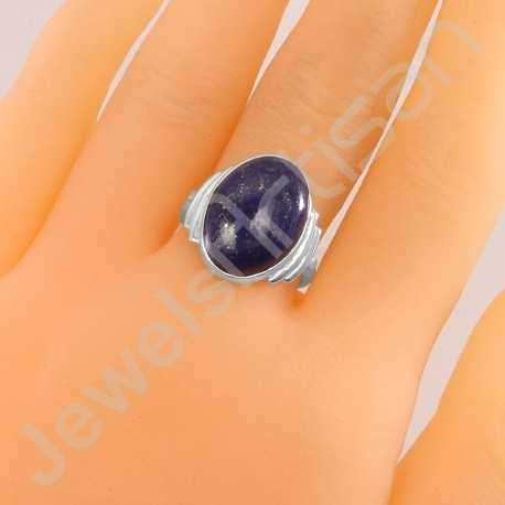 Lapis Lazuli Ring 925 Sterling Silver Ring Solitaire Gemstone Ring 10x14mm Oval Natural Lapis Lazuli Gemstone Handcrafted Ring
