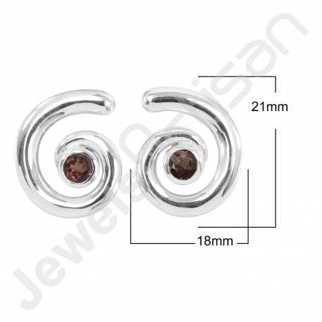925 Sterling Silver Studs Smoky Quartz Studs Handcrafted Studs Solitaire 5x5mm Round Gemstone Fashionable Studs for Her