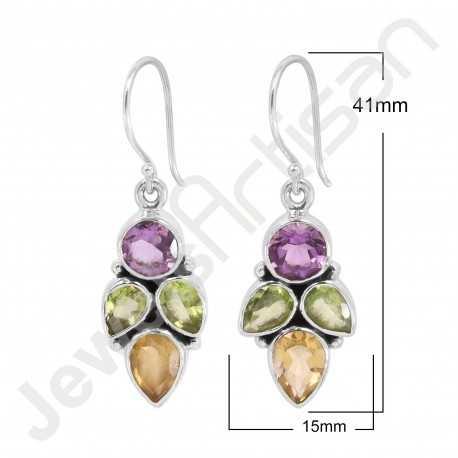 Amethyst Earring Citrine Earring 925 Sterling Silver Earring 7x7mm Round Amethyst Handcrafted Dangle Drop Earring