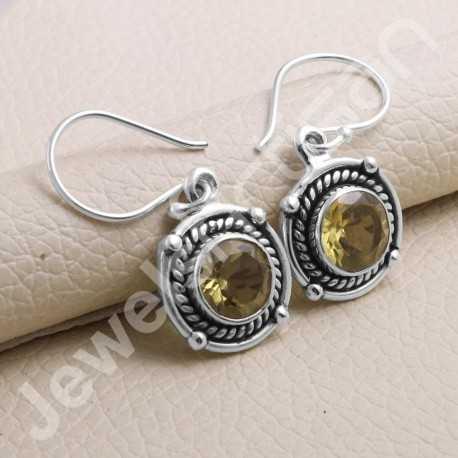 925 Sterling Silver Earring Citrine Earrings Handcrafted Earring Round 8x8mm Gemstone Dangle Drop Ear Wired Earring