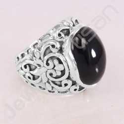 Black Onyx Ring 925 Sterling Silver Ring Handcrafted Silver Ring Oval 13x18mm Black Onyx Statement Silver Designer Ring