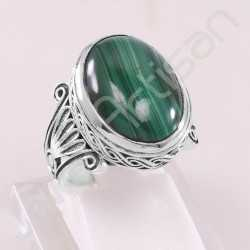 Malachite Ring 925 Sterling Silver Ring Handcrafted Silver Ring Oval 13x18mm Malachite Statement Silver Cocktail Ring