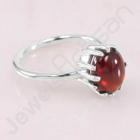 Handcrafted Silver Ring Hessonite Garnet Ring 925 Sterling Silver Ring 8x10mm Oval Hessonite Solitaire Silver Ring