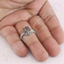Smoky Quartz Ring 925 Sterling Silver Ring Handmade Silver Ring 8x10mm Oval Smoky Quartz Classic Solitaire Silver Ring