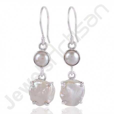 White Pearl Gemstone Earring Baroque Pearl Earring 925 Sterling Silver Earring Fancy Baroque Pearl Ear-wired Earrings