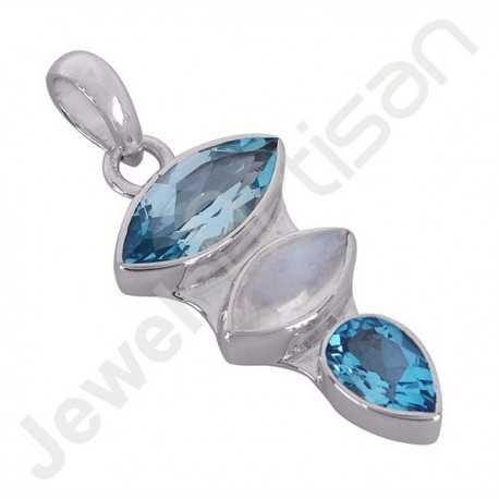 Sky Blue Topaz Pendant Rainbow Moonstone Pendant 925 Sterling Silver Pendant 6x12mm Marquise Multi-Gemstone Handmade Pendant