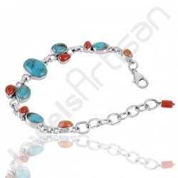 Arizona Turquoise Bracelet Coral Bracelet 925 Sterling Silver Bracelet 10x14mm Oval Handcrafted Multi-Gemstone Bracelet
