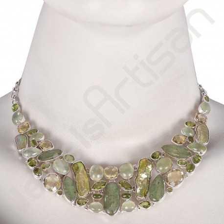 Lemon Quartz Necklace Prehnite Necklace Peridot Bracelet Multi-Gemstone 925 Sterling Silver Handcrafted Choker Necklace