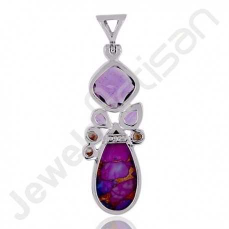 Amethyst Pendant Purple Copper Turquoise Pendant 925 Sterling Silver Pendant12x12mm Round Amethyst Multi-Gemstone Pendant