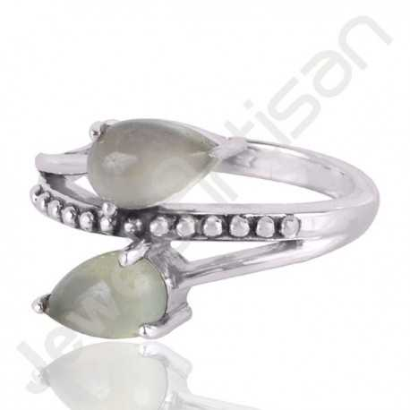 Prehnite Gemstone Ring 925 Sterling Silver Ring Handcrafted Ring 5x8mm Twin Pear Cut Natural Gemstone Engagement Ring