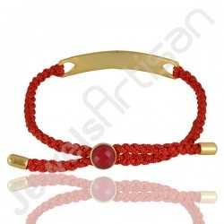 Red Quartz Bracelet Lace Bracelet Brass Metal Bracelet 8x8mm Round Red Quartz Fashionable Bracelet for Sister