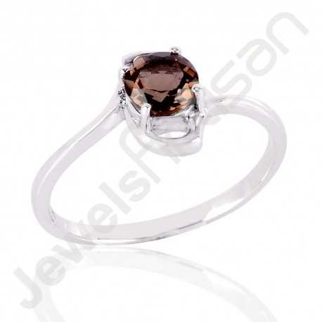 Smoky Quartz Ring 925 Sterling Silver Ring Solitaire Gemstone Ring 6x6mm Round handcrafted Designer Engagement Ring