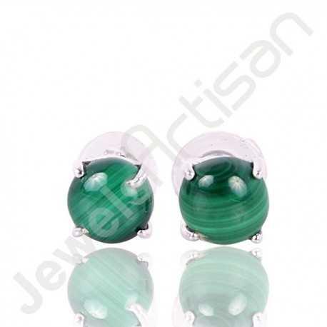 Malachite Studs 925 Sterling Silver Studs Handmade Studs 6x6mm Round Malachite Natural Gemstone Studs Earring