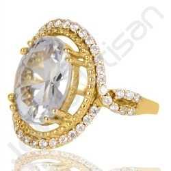 White Quartz Ring Gold Plated Ring Brass Ring 10x14mm Oval White Quartz White Cubic Zirconia Handmade Cocktail Ring