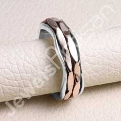 Two Tone Ring 925 Sterling Silver Ring Spinner Ring Handcrafted Mediation Yoga Fidget with Coppers Spinners Spinner Ring