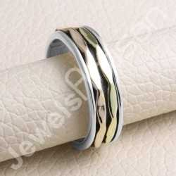 Handcrafted Ring 925 Sterling Silver Ring Spinner Ring Copper and Brass Spinners Meditation Unisex Ring
