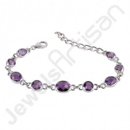 Purple Amethyst Bracelet 925 Sterling Silver Bracelet Handmade Bracelet