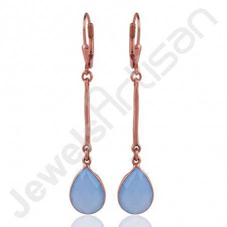 Blue Onyx Earring 925 Sterling Silver Earring Rose Gold Plated Earring
