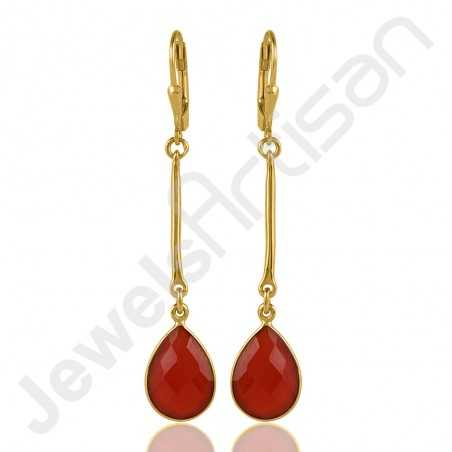 Red Onyx Earring Yellow Gold-Plated Earring 925 Sterling Silver Earring