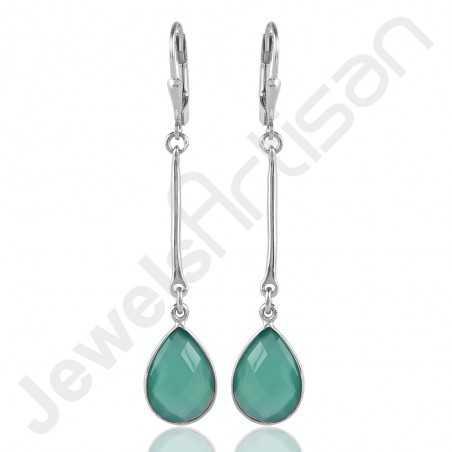Green Onyx Earrings 925 Sterling Silver Earrings Dangle Drop Earrings