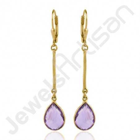 925 Sterling Silver Earring Amethyst Earring Gold Plated Earring