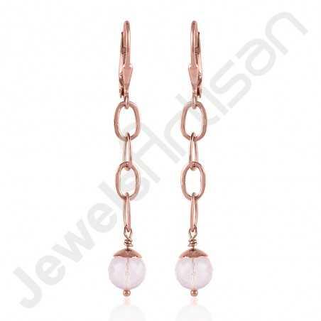Rose Quartz Earring 925 Sterling Silver Earring Gold Plated Earring