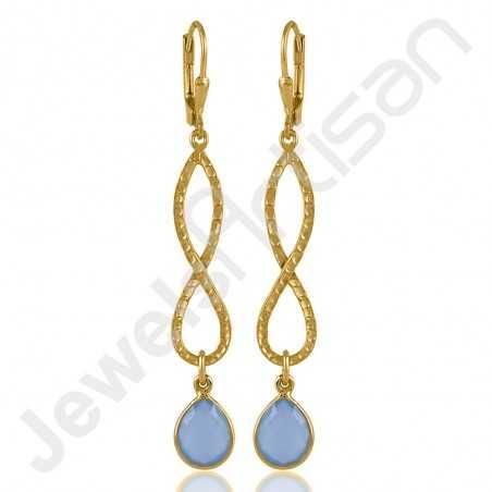 Blue Onyx Earring 925 Sterling Silver Earring Gold Plated Earring