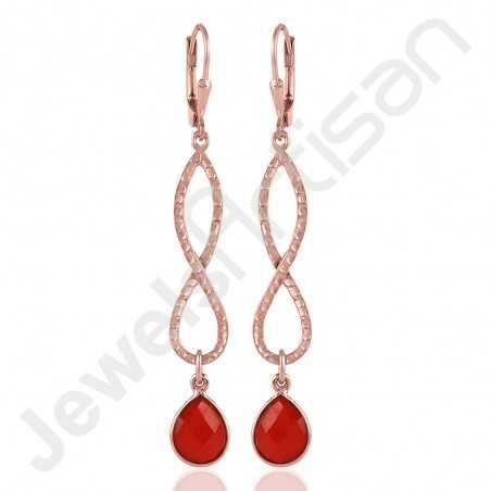 925 Sterling Silver Earrings Red Onyx Earring Infinity Earrings