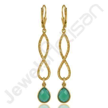 Green Onyx Earrings Infinity Earrings 925 Sterling Silver Earrings