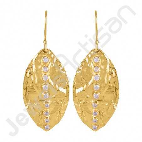 Gold Vermeil Earring Leaf Designer Earring White Zirconia Earring