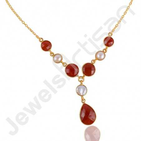 Red Onyx Necklace Pearl Necklace 925 Solid Silver Necklace