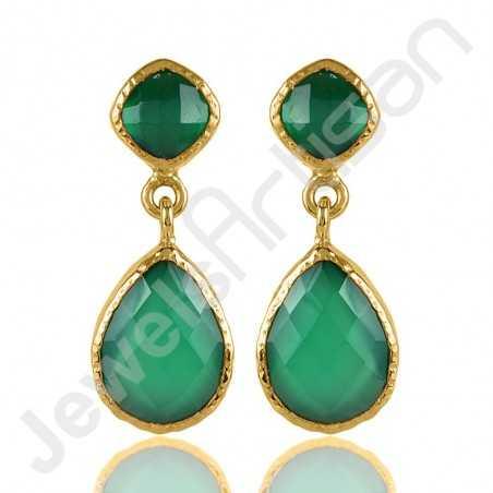 Green Onyx Earrings Gold-Plated Earrings Handcrafted Earrings