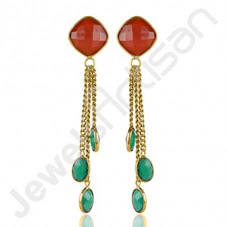 Red Quartz Earrings Brass Earrings Gold-Plated Earrings
