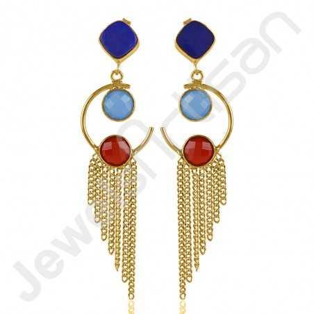 Blue Onyx Earring Lapis Lazuli Earring Gold-Plated Earring
