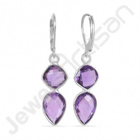 925 Sterling Silver Earrings Purple Amethyst Earrings Tear Drop Earrings